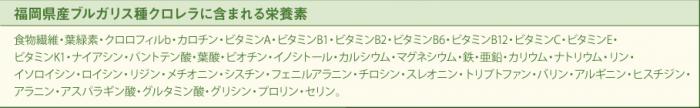 福岡県産ブルガリス種クロレラに含まれる栄養素一覧