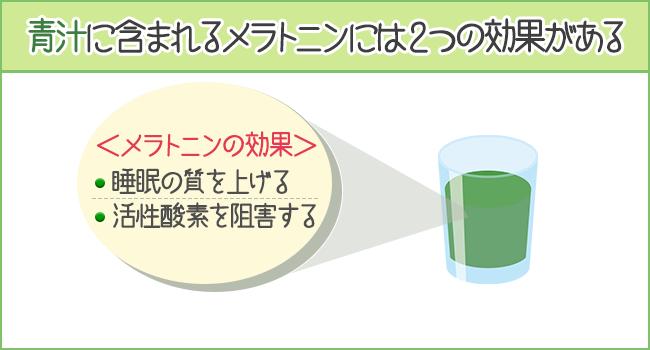 青汁に含まれるメラトニンには2つの効果がある
