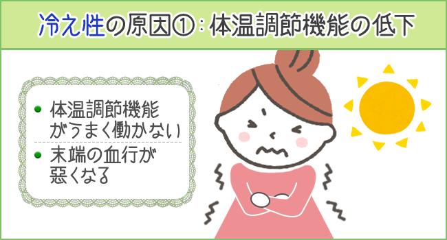 冷え性の原因のひとつが体温調整機能の低下