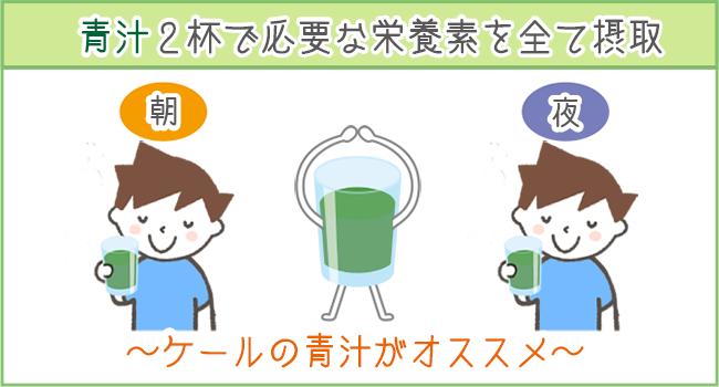 青汁なら1日2杯で栄養がしっかり摂れる。ケール青汁がオススメ