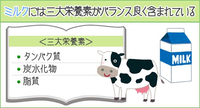 牛乳には3大栄養素がバランスよく含まれている