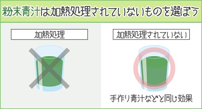 加熱処理していない青汁を選ぶと冷凍青汁くらいの栄養が摂れる