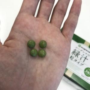 ユーグレナの緑汁粒タイプの粒を袋から取り出したところ