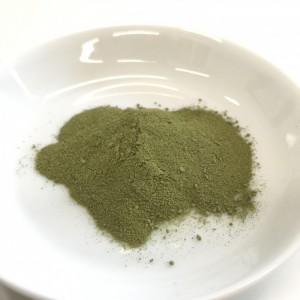 ユーグレナの緑汁の粉末をお皿に出したところ