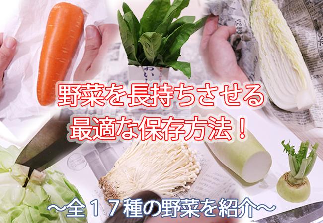 野菜別の最適な保存方法を解説!全17種の野菜を紹介
