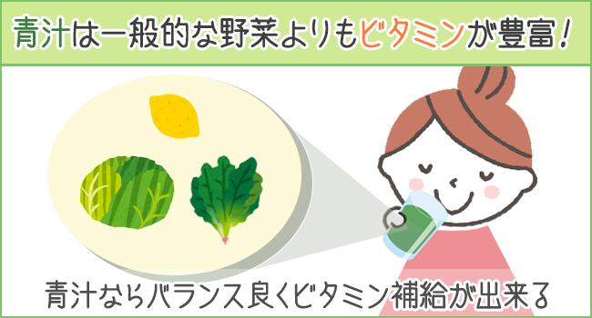 青汁は一般的な野菜よりもビタミンが豊富に含まれている