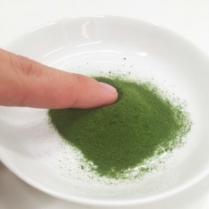 よくばり青汁の粉末を指につけてみました