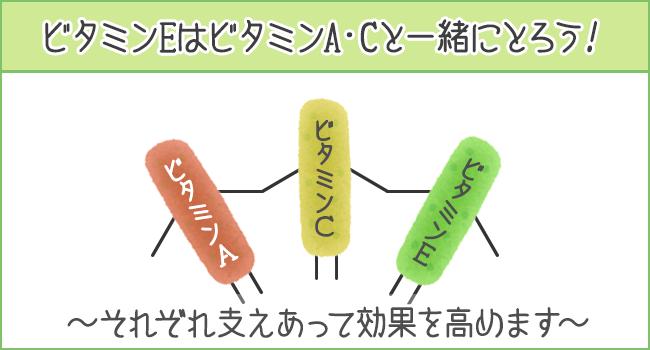 ビタミンEはビタミンA・Cと一緒にとろう!
