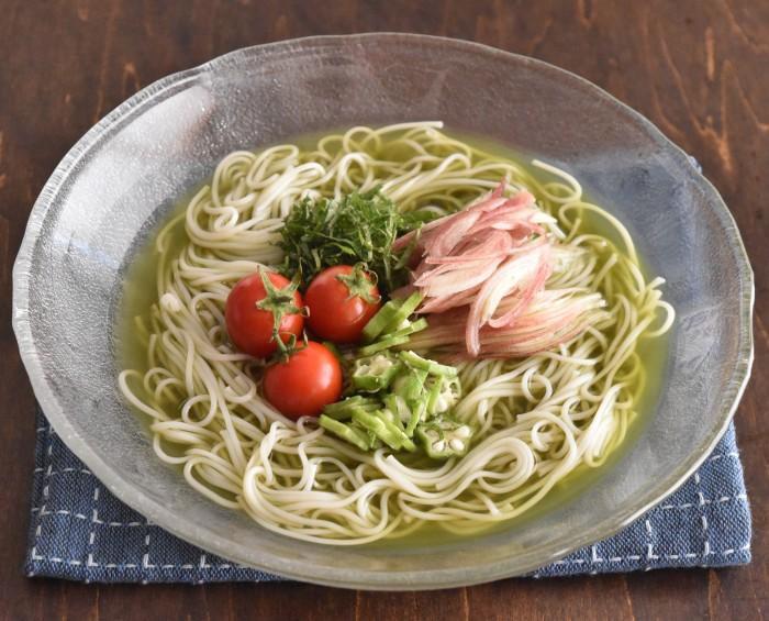 青汁の麺汁そうめん【青汁ちゃん限定レシピ】のイメージ写真