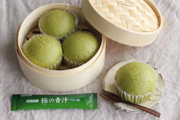 青汁入りフワフワ蒸しパン【青汁ちゃん限定レシピ】のイメージ写真